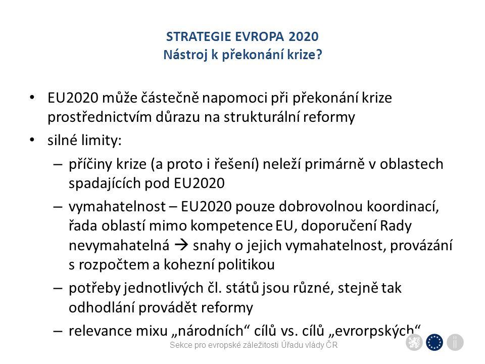 Sekce pro evropské záležitosti Úřadu vlády ČR STRATEGIE EVROPA 2020 Nástroj k překonání krize? EU2020 může částečně napomoci při překonání krize prost