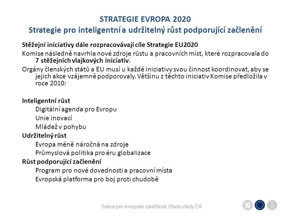 """Sekce pro evropské záležitosti Úřadu vlády ČR STRATEGIE EVROPA 2020 """"měřítko všech věcí snaha prosadit Strategii EU2020 coby hlavní politický program komplexně napříč sektorovými politikami – obsahové provázání cílů a politik plnění cílů Strategie EU2020 se stává měřítkem a současně stále více podmínkou realizace některých programů a projektů (kondicionality) Strategie EU2020 zasahuje do kohezní politiky, diskuze o evropském rozpočtu atp."""