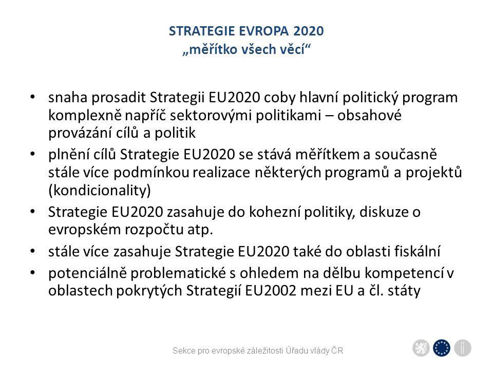Sekce pro evropské záležitosti Úřadu vlády ČR STRATEGIE EVROPA 2020 zasazení do kontextu – Evropský semestr pronikání Strategie EU2020 do sektorových politik  nutnost řízení a koordinace v čase vytvoření Evropského semestru (poprvé v roce 2011) – cyklus předkládání dokumentů souvisejících s naplňováním EU2020 jednotlivé kroky Semestru: AGS/Roční analýza růstu (EK) – listopad diskuse v sektorových Radách (závěry) – leden-březen závěry březnové Evropské rady předložení Národních programů reforem/KoPrů – polovina dubna specifická doporučení Rady členským státům – květen-červenec druhé pololetí: jednotlivé kroky Semestru zapracovány do přípravy státních rozpočtů