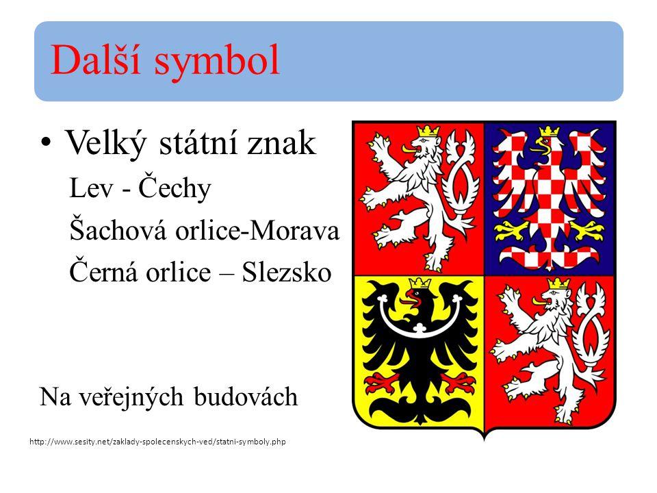 Další symbol Velký státní znak Lev - Čechy Šachová orlice-Morava Černá orlice – Slezsko Na veřejných budovách http://www.sesity.net/zaklady-spolecenskych-ved/statni-symboly.php
