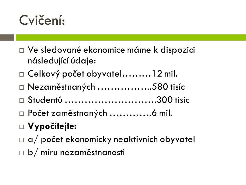Cvičení:  Ve sledované ekonomice máme k dispozici následující údaje:  Celkový počet obyvatel………12 mil.
