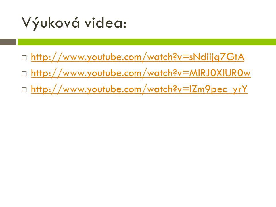 Výuková videa:  http://www.youtube.com/watch?v=sNdiijq7GtA http://www.youtube.com/watch?v=sNdiijq7GtA  http://www.youtube.com/watch?v=MlRJ0XlUR0w http://www.youtube.com/watch?v=MlRJ0XlUR0w  http://www.youtube.com/watch?v=IZm9pec_yrY http://www.youtube.com/watch?v=IZm9pec_yrY