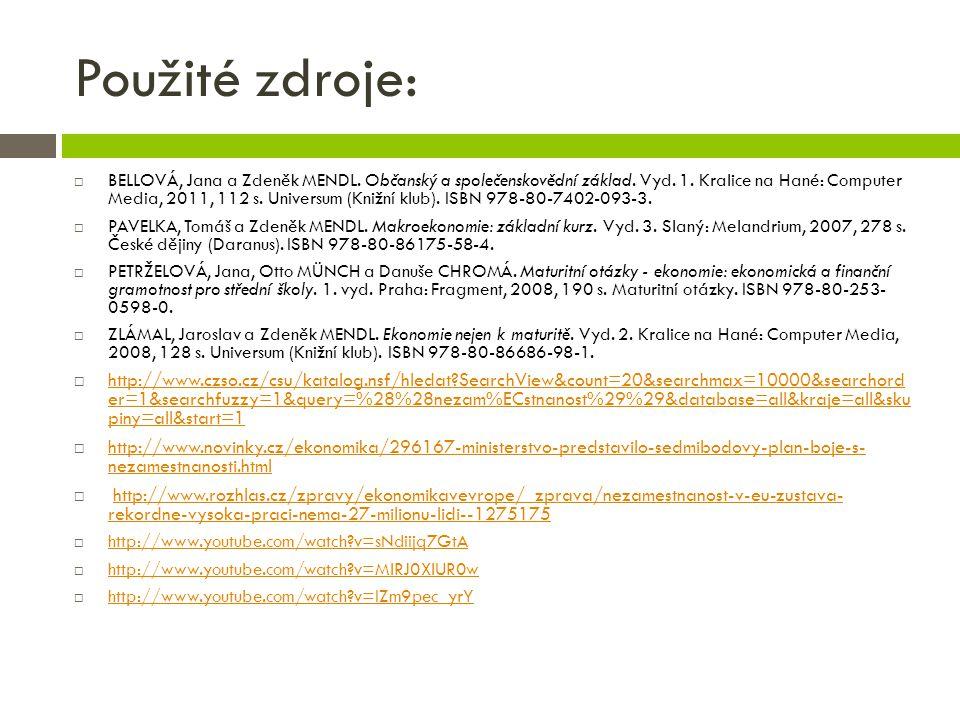 Použité zdroje:  BELLOVÁ, Jana a Zdeněk MENDL.Občanský a společenskovědní základ.