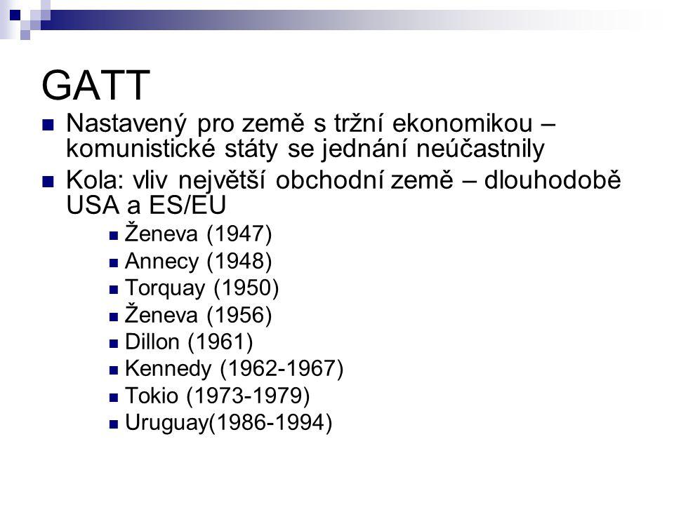 GATT Nastavený pro země s tržní ekonomikou – komunistické státy se jednání neúčastnily Kola: vliv největší obchodní země – dlouhodobě USA a ES/EU Ženeva (1947) Annecy (1948) Torquay (1950) Ženeva (1956) Dillon (1961) Kennedy (1962-1967) Tokio (1973-1979) Uruguay(1986-1994)