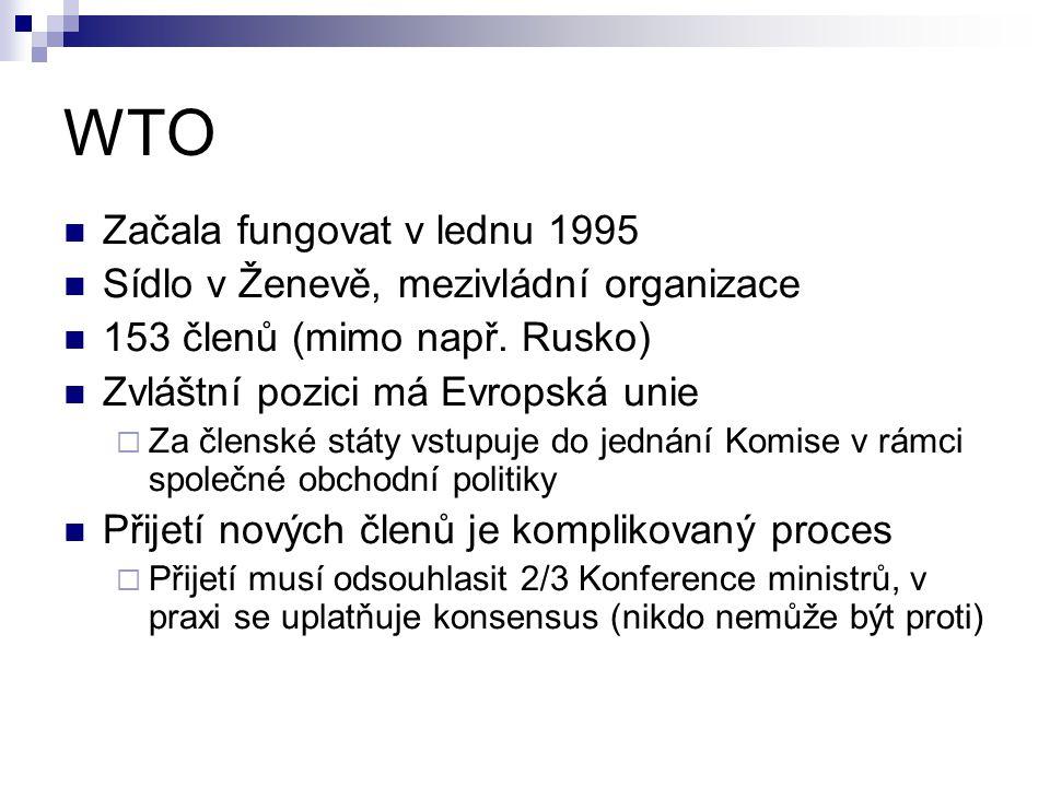 WTO Začala fungovat v lednu 1995 Sídlo v Ženevě, mezivládní organizace 153 členů (mimo např. Rusko) Zvláštní pozici má Evropská unie  Za členské stát