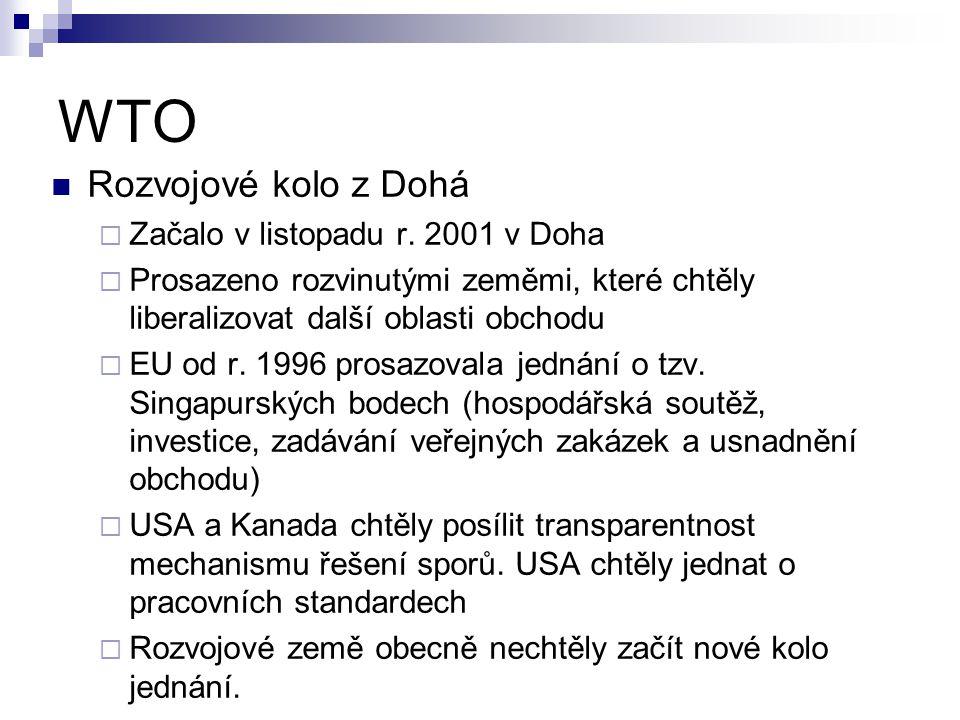 WTO Rozvojové kolo z Dohá  Začalo v listopadu r. 2001 v Doha  Prosazeno rozvinutými zeměmi, které chtěly liberalizovat další oblasti obchodu  EU od