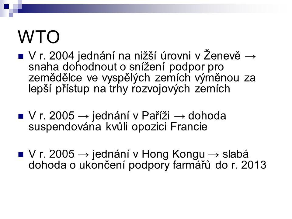 WTO V r. 2004 jednání na nižší úrovni v Ženevě → snaha dohodnout o snížení podpor pro zemědělce ve vyspělých zemích výměnou za lepší přístup na trhy r