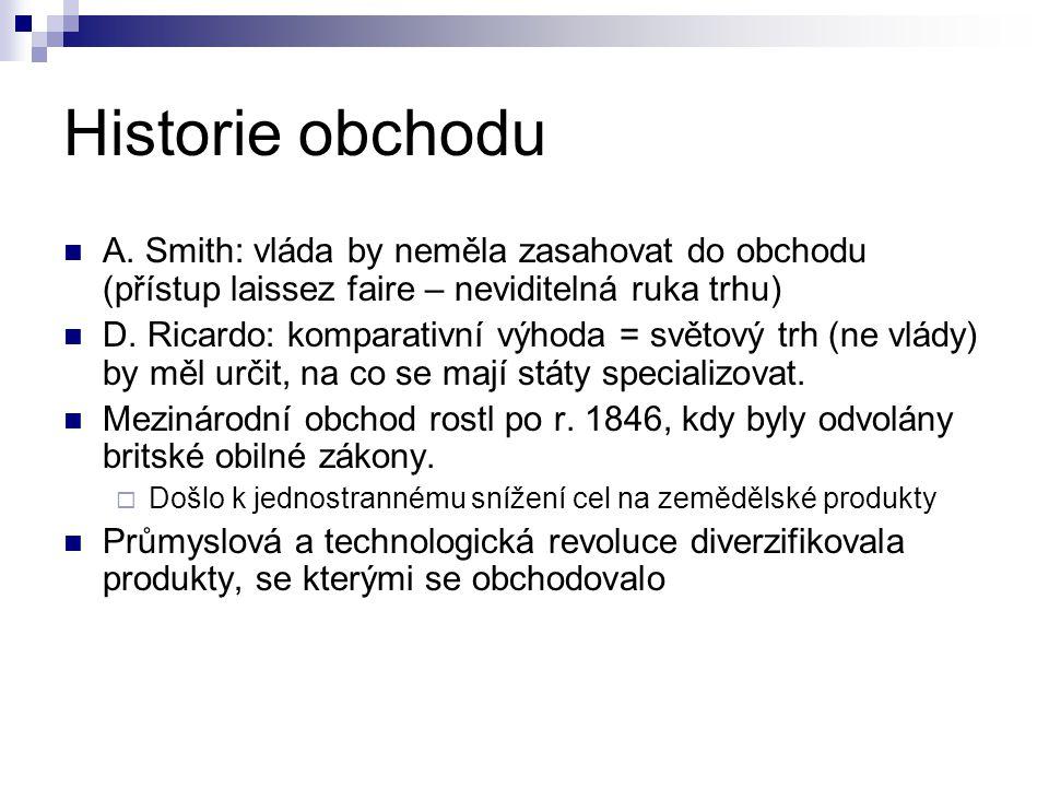 Historie obchodu A. Smith: vláda by neměla zasahovat do obchodu (přístup laissez faire – neviditelná ruka trhu) D. Ricardo: komparativní výhoda = svět