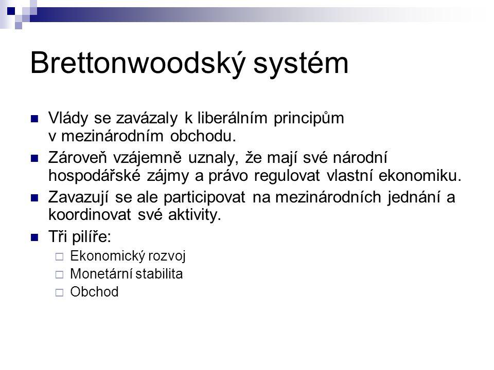 Brettonwoodský systém Ekonomický rozvoj a monetární politika byly zakotveny ve Světové bance a MMF Obchod měl být zakotven v Mezinárodní obchodní organizaci (ITO), o níž se vedla jednání.