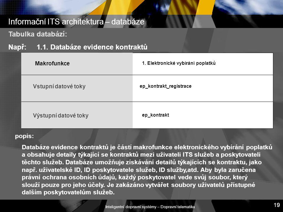 Inteligentní dopravní systémy – Dopravní telematika 19 Informační ITS architektura – databáze popis: Tabulka databází: Např:1.1. Databáze evidence kon