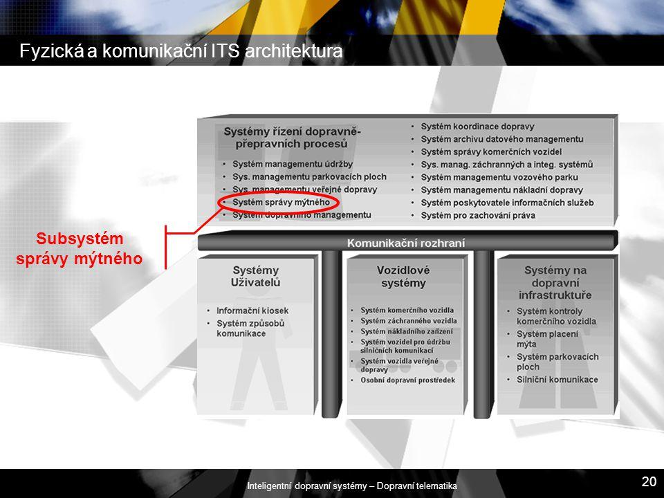 Inteligentní dopravní systémy – Dopravní telematika 20 Fyzická a komunikační ITS architektura Subsystém správy mýtného
