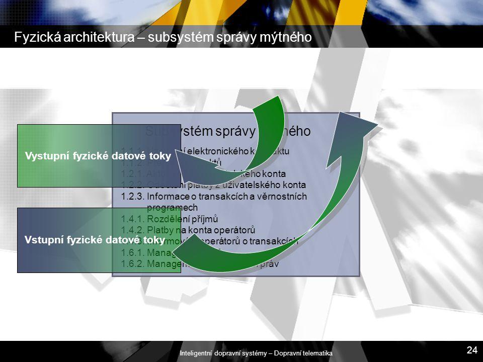 Inteligentní dopravní systémy – Dopravní telematika 24 Fyzická architektura – subsystém správy mýtného Subsystém správy mýtného 1.1.1. Uzavření elektr