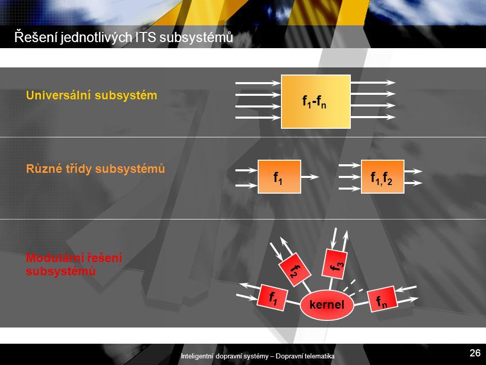 Inteligentní dopravní systémy – Dopravní telematika 26 Řešení jednotlivých ITS subsystémů Modulární řešení subsystémů f1f1 f2f2 f3f3 fnfn kernel Různé