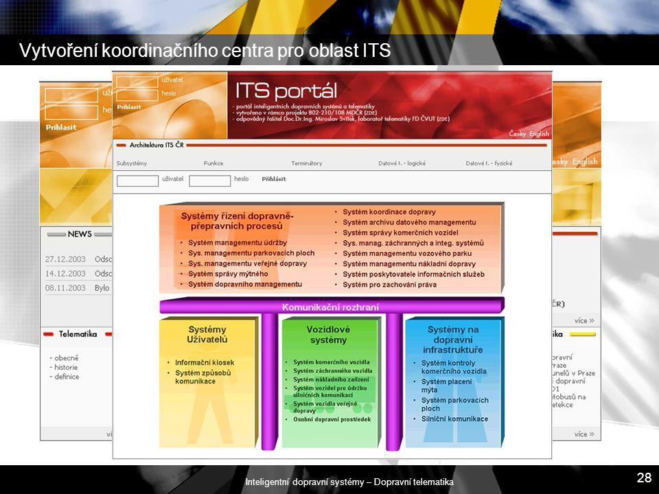 Inteligentní dopravní systémy – Dopravní telematika 28 Vytvoření koordinačního centra pro oblast ITS