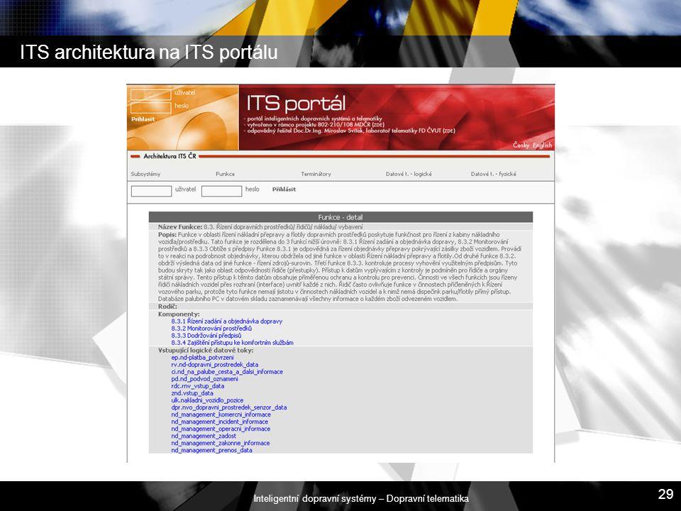 Inteligentní dopravní systémy – Dopravní telematika 29 ITS architektura na ITS portálu