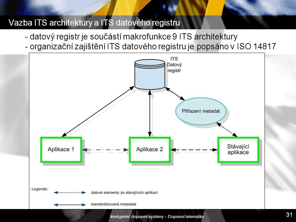 Inteligentní dopravní systémy – Dopravní telematika 31 Vazba ITS architektury a ITS datového registru - datový registr je součástí makrofunkce 9 ITS a