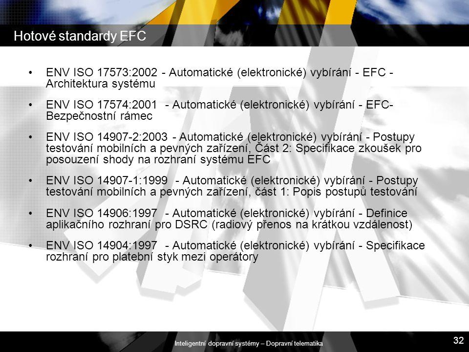 Inteligentní dopravní systémy – Dopravní telematika 32 Hotové standardy EFC ENV ISO 17573:2002 - Automatické (elektronické) vybírání - EFC - Architekt
