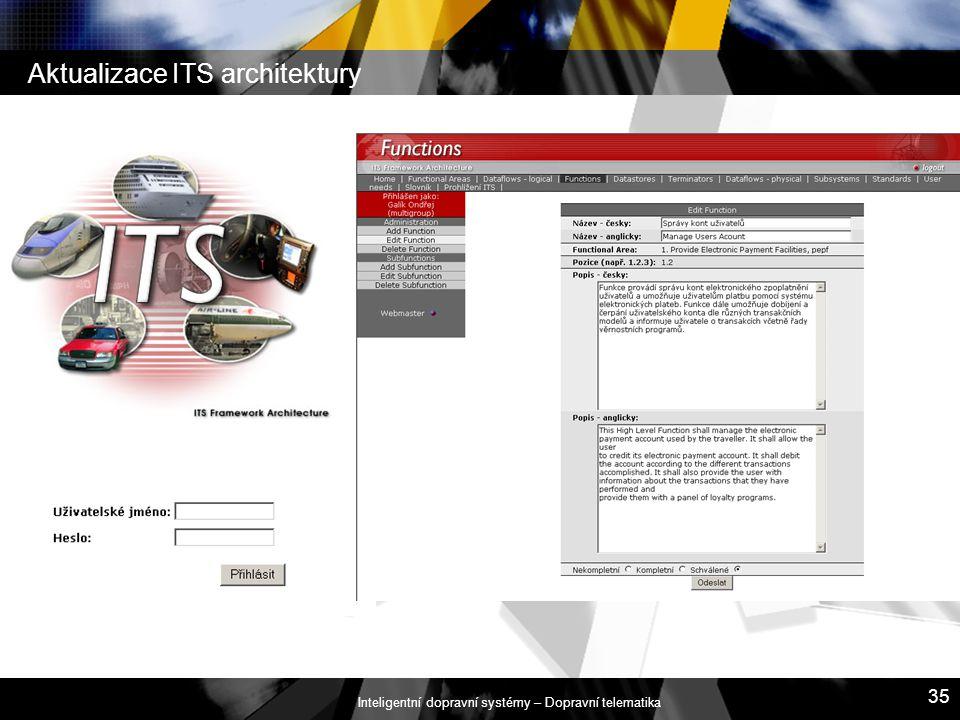 Inteligentní dopravní systémy – Dopravní telematika 35 Aktualizace ITS architektury