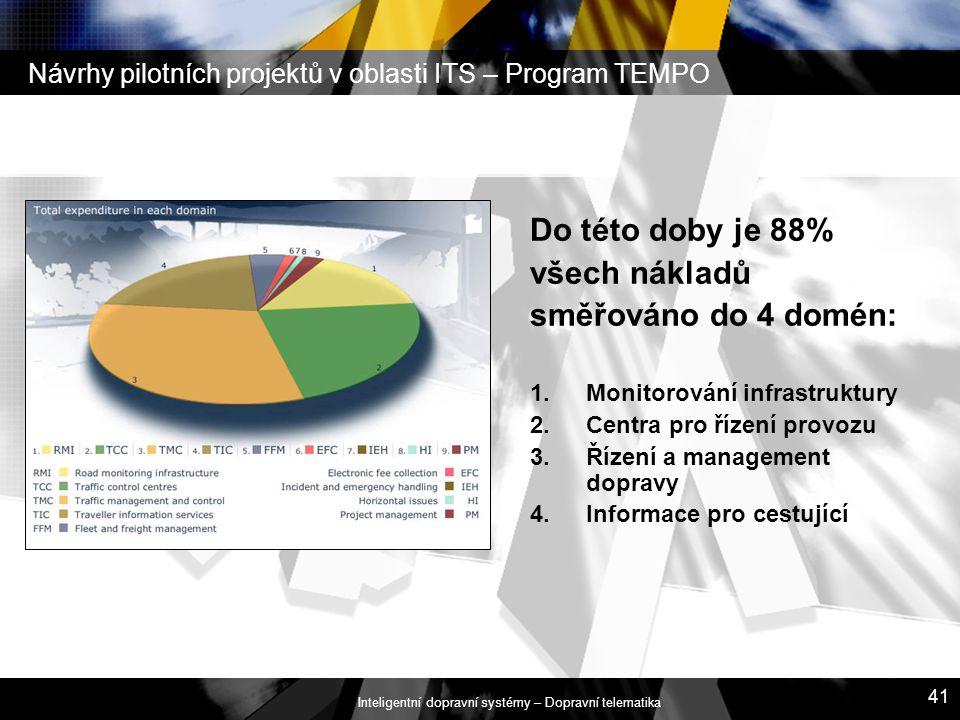 Inteligentní dopravní systémy – Dopravní telematika 41 Návrhy pilotních projektů v oblasti ITS – Program TEMPO Do této doby je 88% všech nákladů směřo