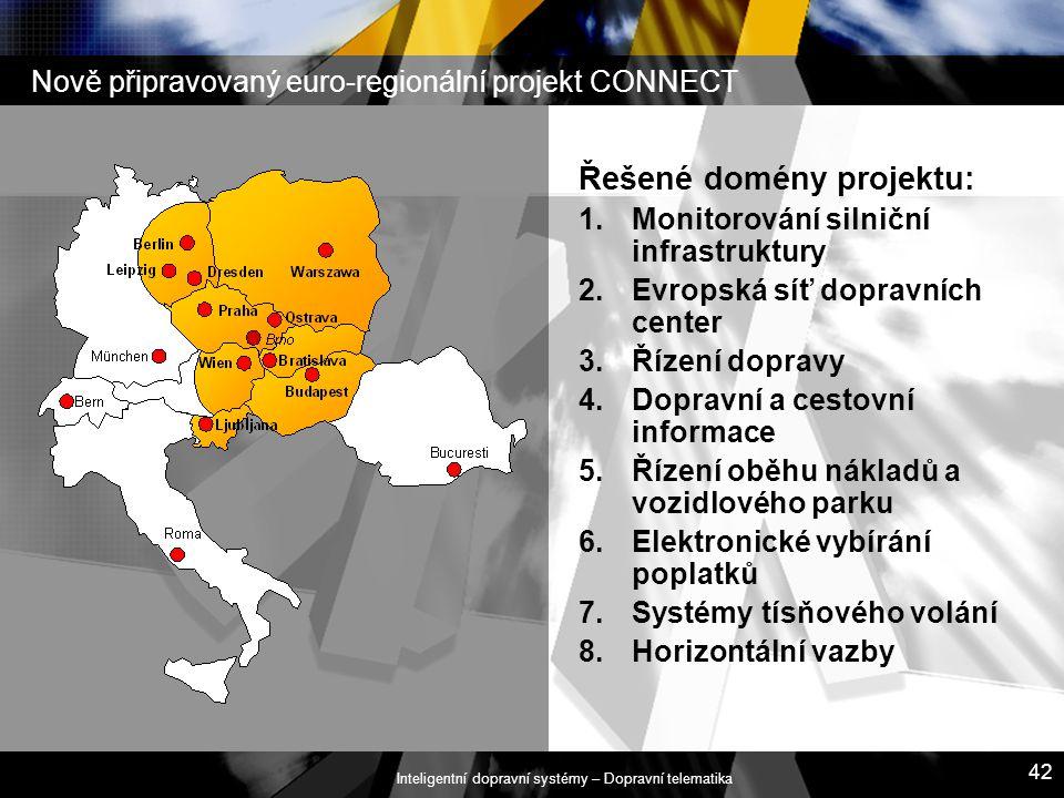 Inteligentní dopravní systémy – Dopravní telematika 42 Řešené domény projektu: 1.Monitorování silniční infrastruktury 2.Evropská síť dopravních center