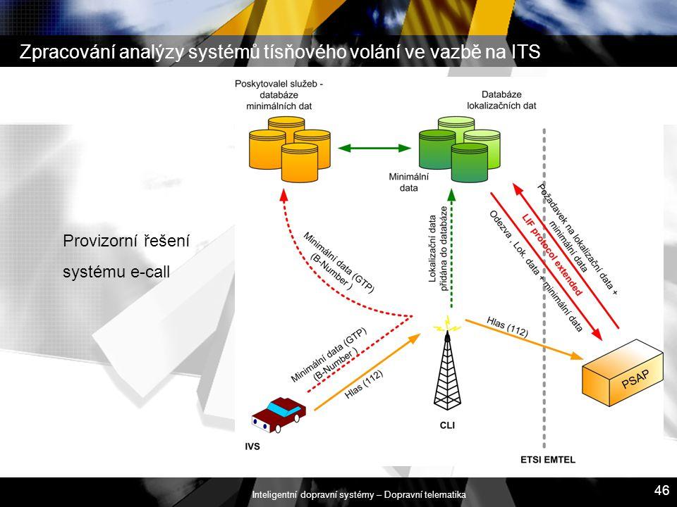 Inteligentní dopravní systémy – Dopravní telematika 46 Zpracování analýzy systémů tísňového volání ve vazbě na ITS Provizorní řešení systému e-call