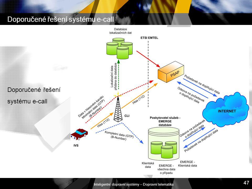 Inteligentní dopravní systémy – Dopravní telematika 47 Doporučené řešení systému e-call Doporučené řešení systému e-call