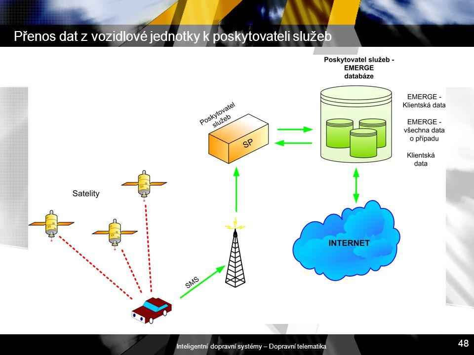 Inteligentní dopravní systémy – Dopravní telematika 48 Přenos dat z vozidlové jednotky k poskytovateli služeb