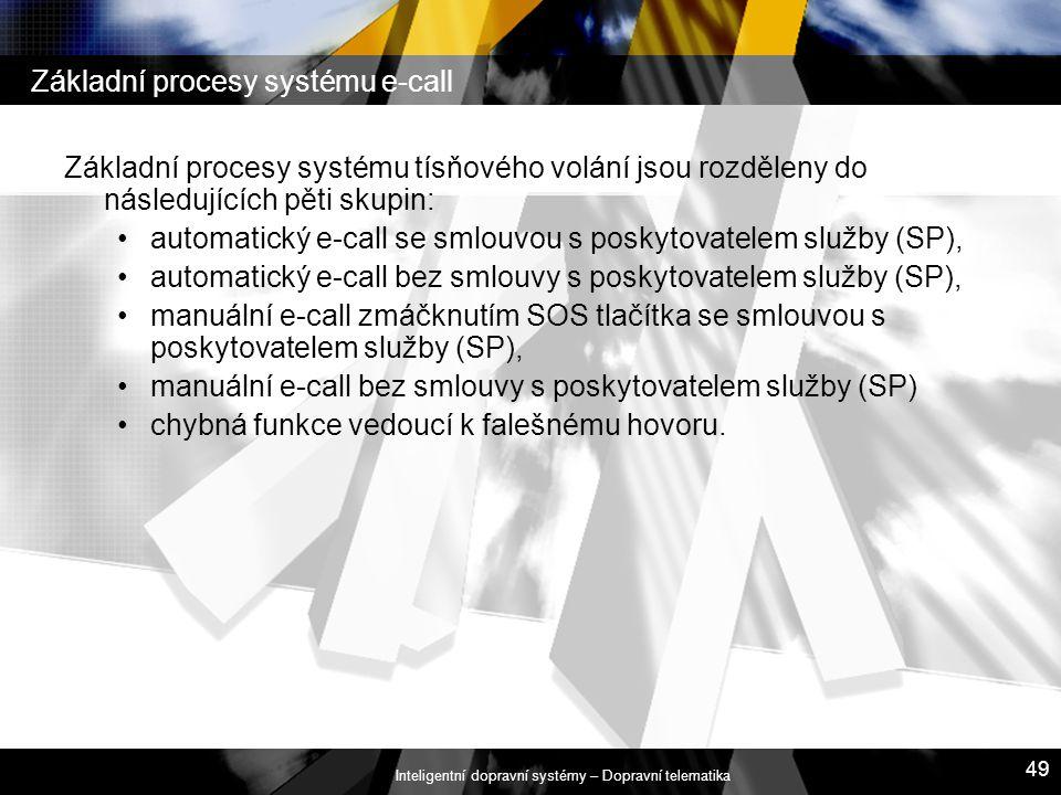 Inteligentní dopravní systémy – Dopravní telematika 49 Základní procesy systému e-call Základní procesy systému tísňového volání jsou rozděleny do nás