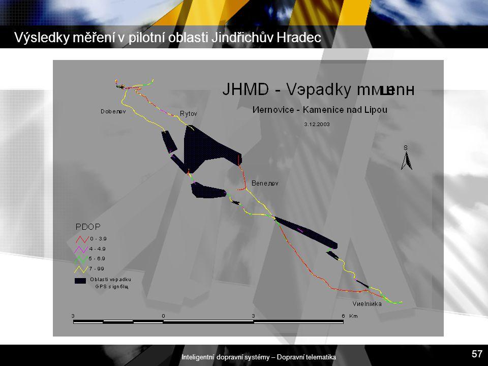 Inteligentní dopravní systémy – Dopravní telematika 57 Výsledky měření v pilotní oblasti Jindřichův Hradec