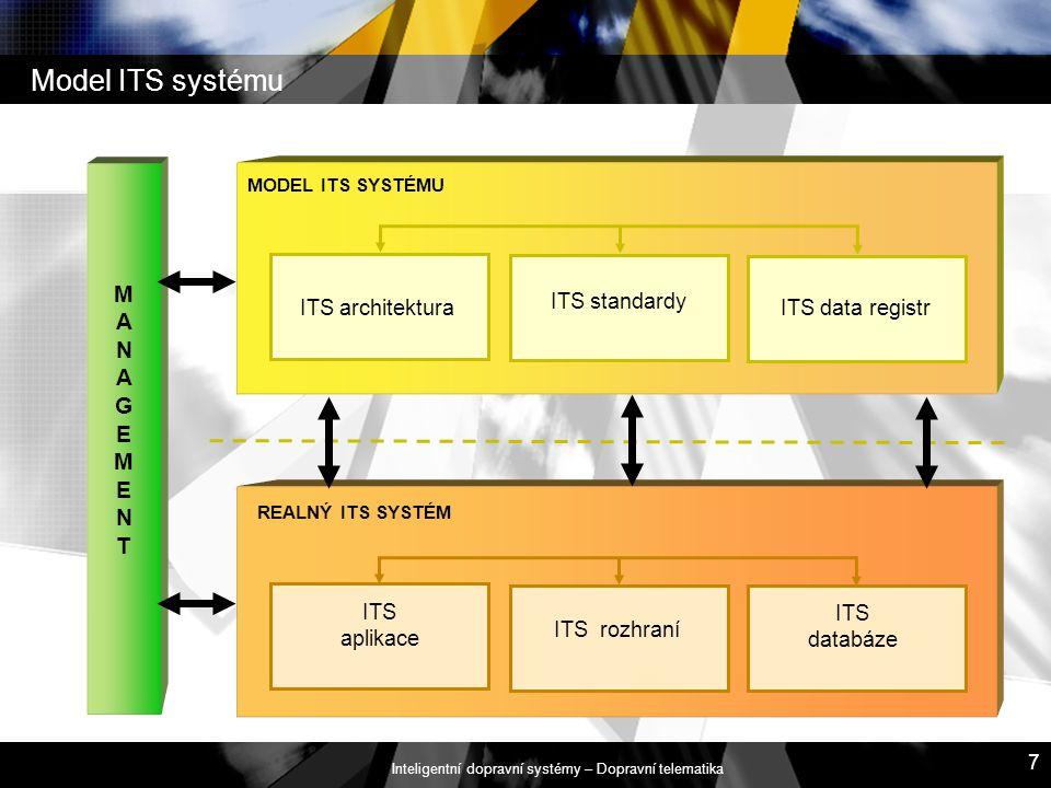 Inteligentní dopravní systémy – Dopravní telematika 7 Model ITS systému MODEL ITS SYSTÉMU REALNÝ ITS SYSTÉM MANAGEMENT MANAGEMENT ITS architektura ITS