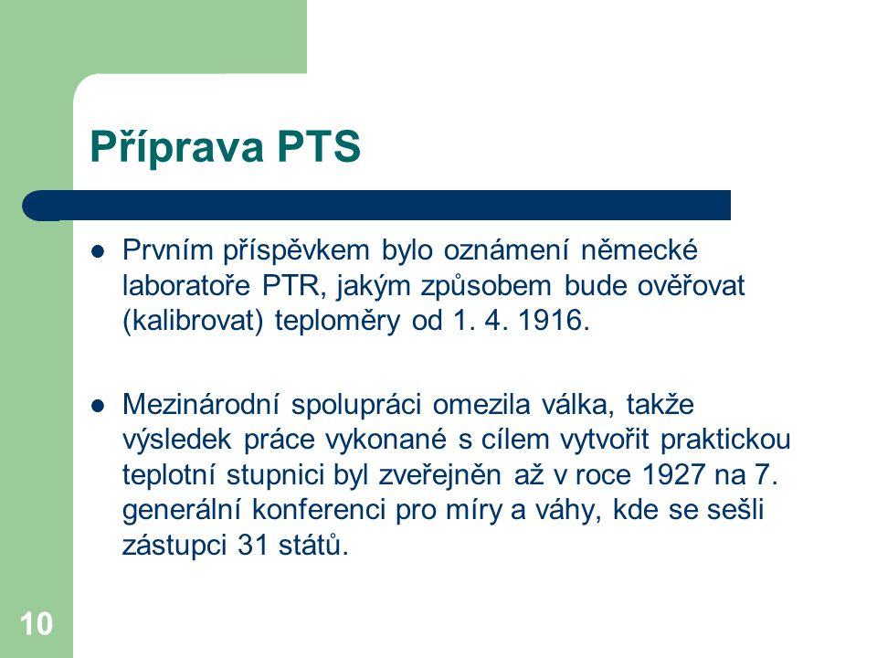 10 Příprava PTS Prvním příspěvkem bylo oznámení německé laboratoře PTR, jakým způsobem bude ověřovat (kalibrovat) teploměry od 1. 4. 1916. Mezinárodní