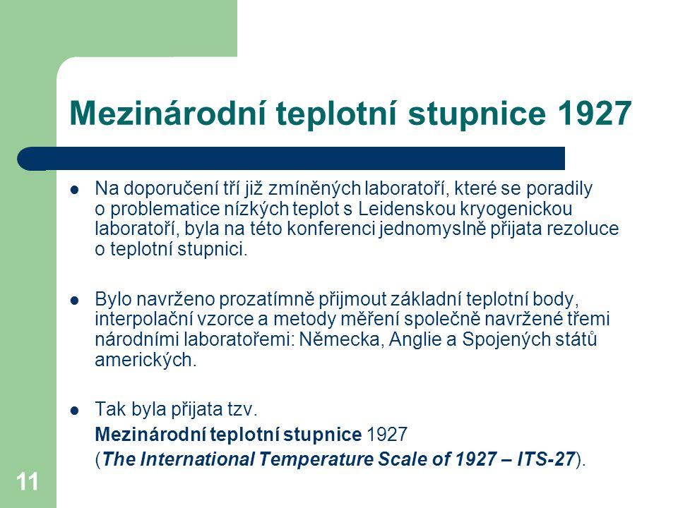 11 Mezinárodní teplotní stupnice 1927 Na doporučení tří již zmíněných laboratoří, které se poradily o problematice nízkých teplot s Leidenskou kryogen