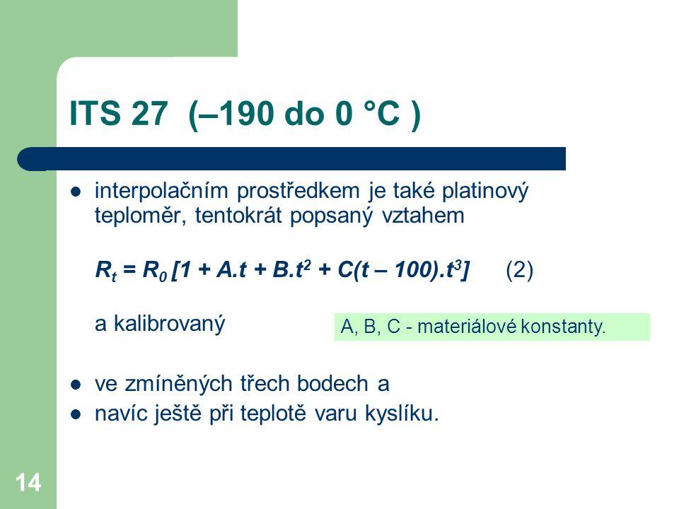 14 ITS 27 (–190 do 0 °C ) interpolačním prostředkem je také platinový teploměr, tentokrát popsaný vztahem R t = R 0 [1 + A.t + B.t 2 + C(t – 100).t 3