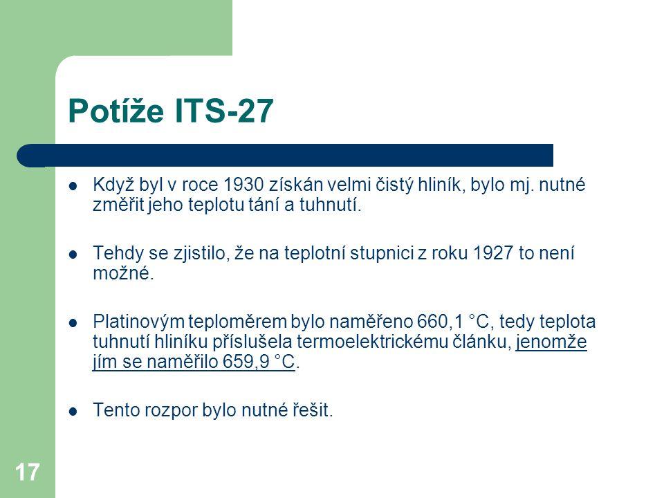 17 Potíže ITS-27 Když byl v roce 1930 získán velmi čistý hliník, bylo mj. nutné změřit jeho teplotu tání a tuhnutí. Tehdy se zjistilo, že na teplotní