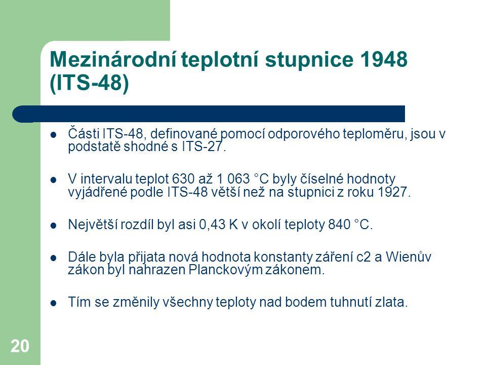 20 Mezinárodní teplotní stupnice 1948 (ITS-48) Části ITS-48, definované pomocí odporového teploměru, jsou v podstatě shodné s ITS-27. V intervalu tepl