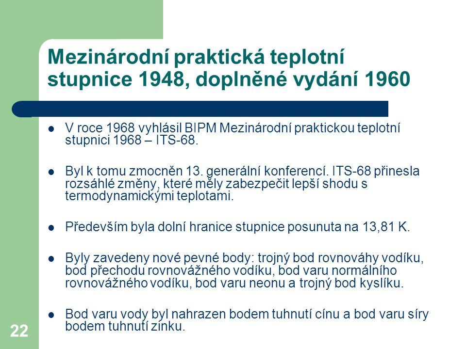 22 Mezinárodní praktická teplotní stupnice 1948, doplněné vydání 1960 V roce 1968 vyhlásil BIPM Mezinárodní praktickou teplotní stupnici 1968 – ITS-68