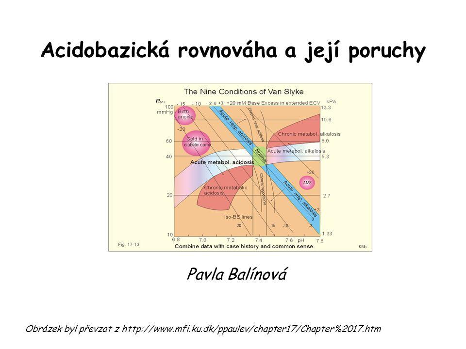 Acidobazická rovnováha a její poruchy Obrázek byl převzat z http://www.mfi.ku.dk/ppaulev/chapter17/Chapter%2017.htm Pavla Balínová
