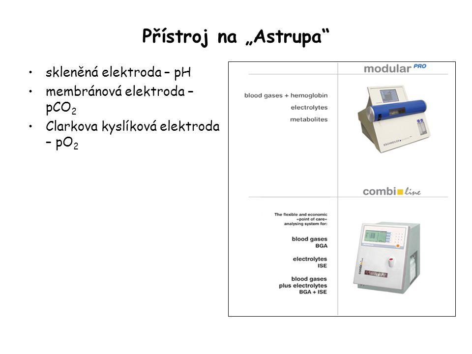 """Přístroj na """"Astrupa"""" skleněná elektroda – pH membránová elektroda – pCO 2 Clarkova kyslíková elektroda – pO 2"""