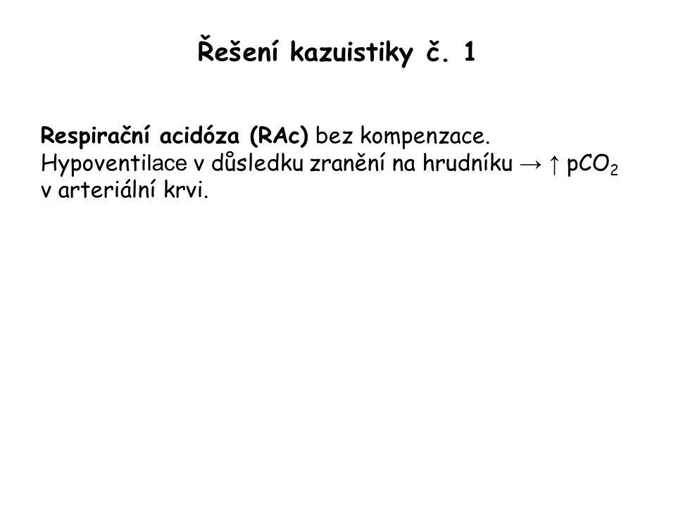 Řešení kazuistiky č. 1 Respirační acidóza (RAc) bez kompenzace. Hypoventi lace v důsledku zranění na hrudníku → ↑ pCO 2 v arteriální krvi.