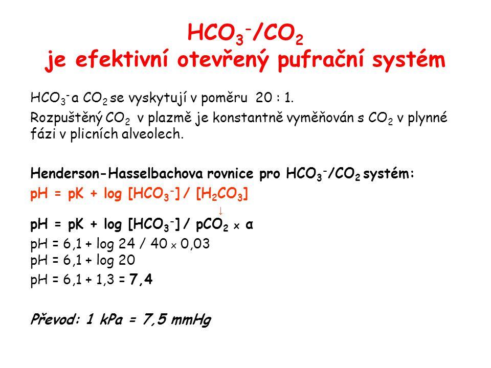 HCO 3 - /CO 2 je efektivní otevřený pufrační systém HCO 3 - a CO 2 se vyskytují v poměru 20 : 1. Rozpuštěný CO 2 v plazmě je konstantně vyměňován s CO