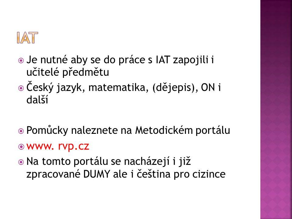  Je nutné aby se do práce s IAT zapojili i učitelé předmětu  Český jazyk, matematika, (dějepis), ON i další  Pomůcky naleznete na Metodickém portál