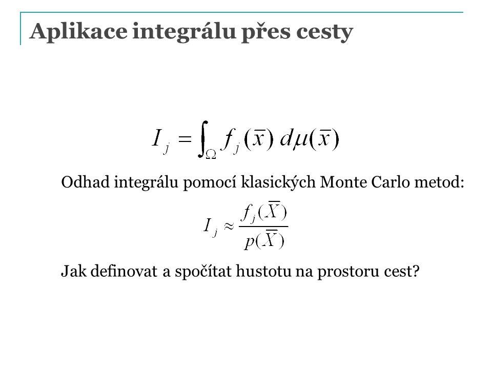 Aplikace integrálu přes cesty Odhad integrálu pomocí klasických Monte Carlo metod: Jak definovat a spočítat hustotu na prostoru cest