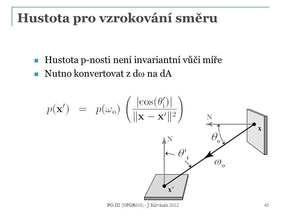 Hustota pro vzrokování směru Hustota p-nosti není invariantní vůči míře Nutno konvertovat z d  na dA PG III (NPGR010) - J.