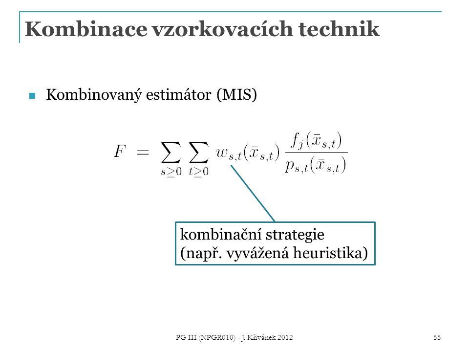 Kombinace vzorkovacích technik Kombinovaný estimátor (MIS) kombinační strategie (např.