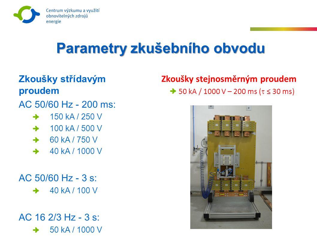 Zkoušky střídavým proudem AC 50/60 Hz - 200 ms: 150 kA / 250 V 100 kA / 500 V 60 kA / 750 V 40 kA / 1000 V AC 50/60 Hz - 3 s: 40 kA / 100 V AC 16 2/3 Hz - 3 s: 50 kA / 1000 V Parametry zkušebního obvodu Zkoušky stejnosměrným proudem 50 kA / 1000 V – 200 ms (  ≤ 30 ms)