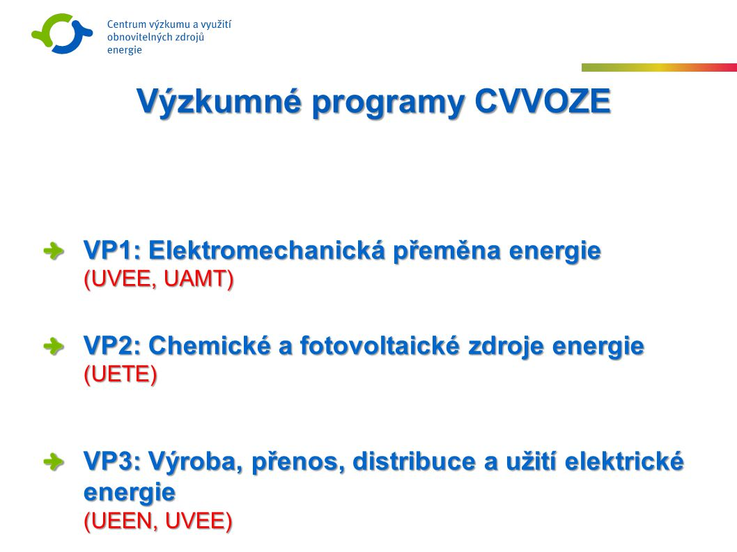 VP1: Elektromechanická přeměna energie (UVEE, UAMT) VP2: Chemické a fotovoltaické zdroje energie (UETE) VP3: Výroba, přenos, distribuce a užití elektrické energie (UEEN, UVEE) Výzkumné programy CVVOZE
