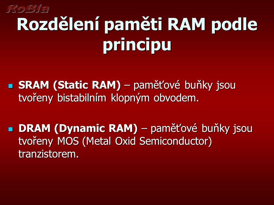 Rozdělení paměti RAM podle principu SRAM (Static RAM) – paměťové buňky jsou tvořeny bistabilním klopným obvodem.