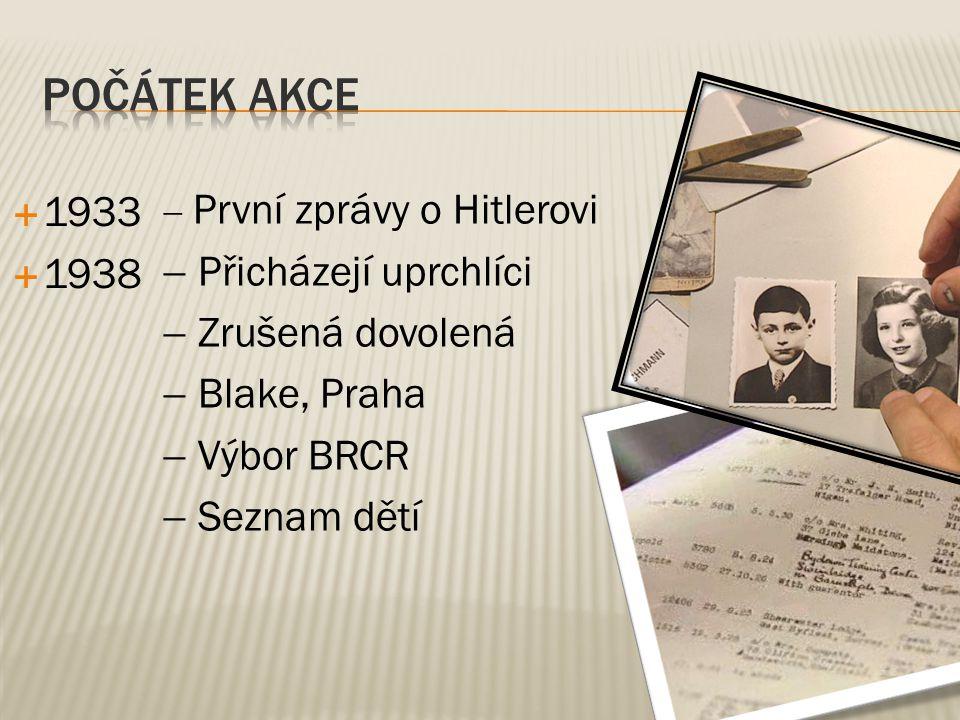  1933  1938  První zprávy o Hitlerovi  Přicházejí uprchlíci  Zrušená dovolená  Blake, Praha  Výbor BRCR  Seznam dětí