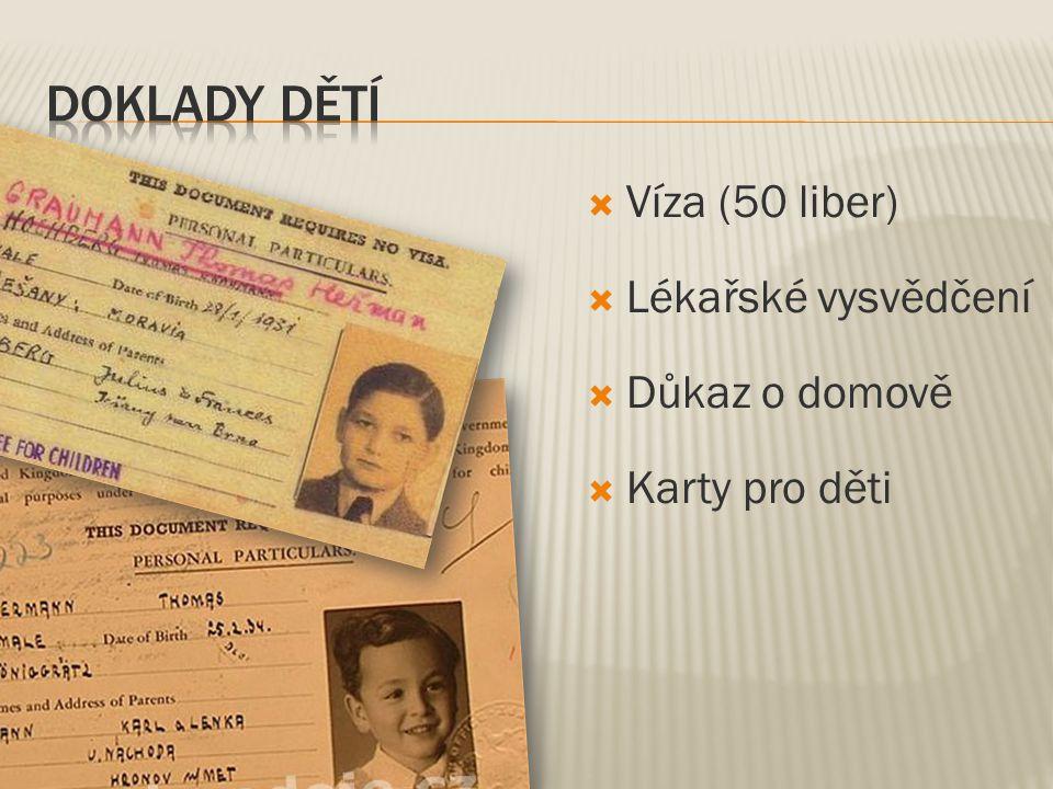  Víza (50 liber)  Lékařské vysvědčení  Důkaz o domově  Karty pro děti