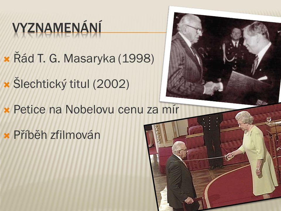  Řád T. G. Masaryka (1998)  Šlechtický titul (2002)  Petice na Nobelovu cenu za mír  Příběh zfilmován